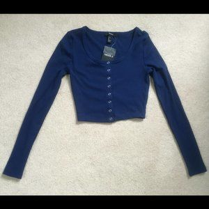 Forever 21 Small Navy Blue Button Up Crop Top NWT
